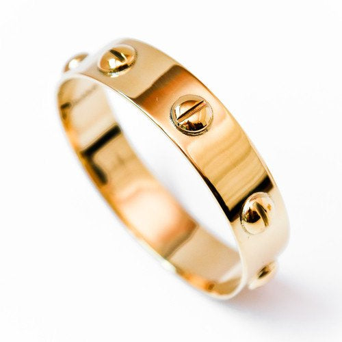 Screw Bangle, in Gold Finish