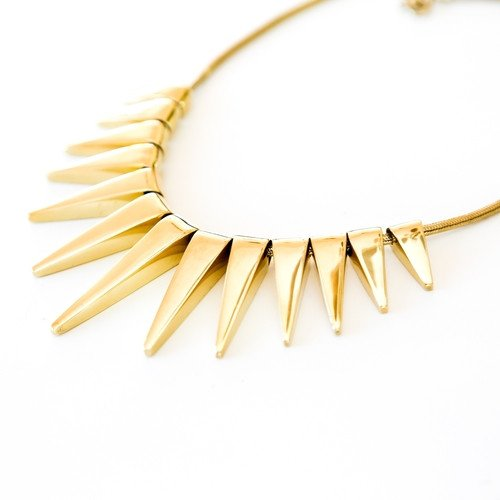 Tribal Sun Rays Necklace in Brass, Handmade by the ring madam