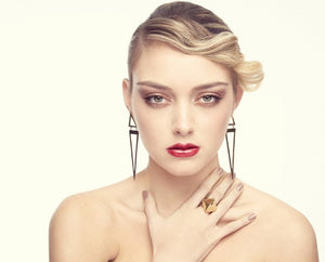 Gold Brass Tribal Triangle Drop Earrings in Polished Finish by the ring madam