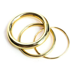 Gold Brass Bangles, Set of 3 Sizes in Gold Finish