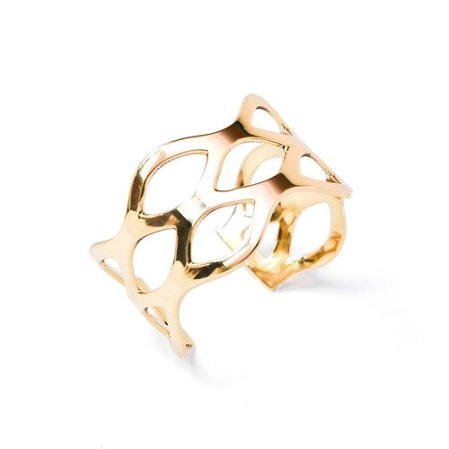 Brass Cuff , Wave Design Adjustable in Gold Finish by the ring madam
