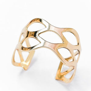 Brass Cuff , Wave Design Adjustable in Gold Finish