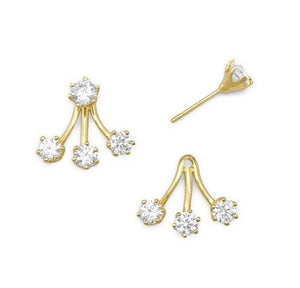 Triple Stud Drop Cubic Zirconia Front/Back Sterling Earrings, Available in 3 Platings