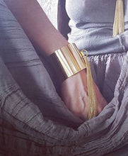 Load image into Gallery viewer, Tassel Fringe Cuff Bracelet in Solid Brass, also in Silver Finish