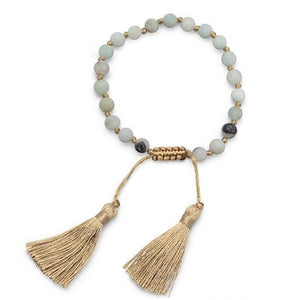 Mala Tassel Bracelet of Amazonite Beads, Adjustable