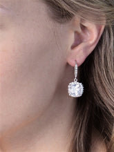 Load image into Gallery viewer, Cushion Cut Cubic Zirconia Drop Earrings Available in 3 Finishes
