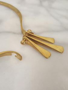 Gold Brass Statement Hinge Collar/Necklace, Handmade