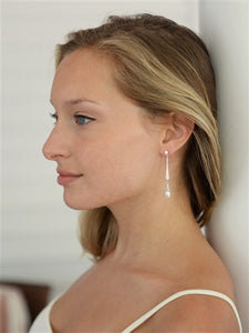 Vintage CZ Dangle Earrings with Freshwater Pearl