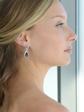 Load image into Gallery viewer, Sapphire Cubic Zirconia Teardrop Wedding or Bridesmaids Earrings