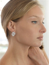 Load image into Gallery viewer, Gold Cubic Zirconia Cluster Earrings with Delicate Marquis Stones also in Silver Rhodium