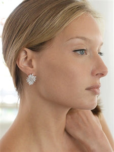 Gold Cubic Zirconia Cluster Earrings with Delicate Marquis Stones also in Silver Rhodium