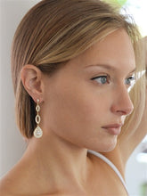 Load image into Gallery viewer, Gold or Silver Plated Micro pave Cubic Zirconia Teardrop Earrings