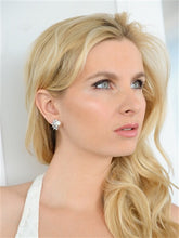 Load image into Gallery viewer, Clip-On Pearl and Cubic Zirconia Earrings in Crescent Shape