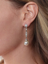 Load image into Gallery viewer, Dangle Earrings with Cubic Zirconia Filigree and Bold Pearl