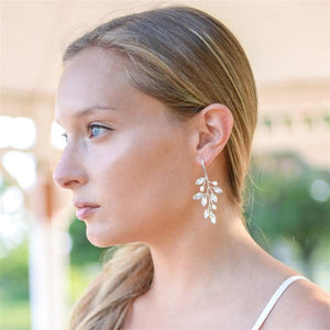Silver Vine Bridal Earrings with Crystals & Freshwater Pearls by the ring madam