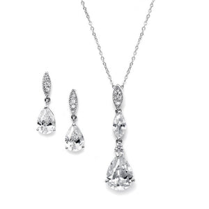 Cubic Zirconia Pear Pendant Necklace and Earring Set