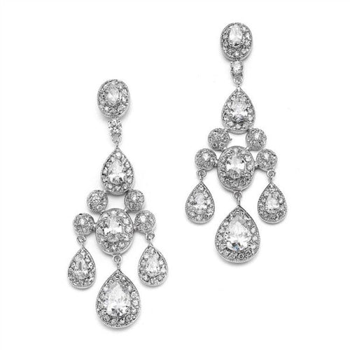 Chandelier Earrings in Pave Encrusted Cubic Zirconia