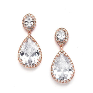 Cubic Zirconia Pear-shaped Drop Earrings in 3 Finishes-Pierced