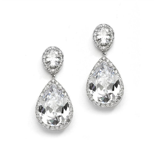 Cubic Zirconia Pear-shaped Drop Bridal Earrings - Pierced by the ring madam mar2074E