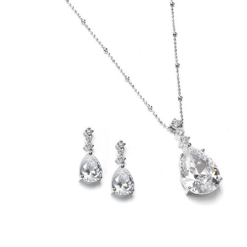 Cubic Zirconia Pear Shaped Drop Necklace and Earring Set by the ring madam mar293S-