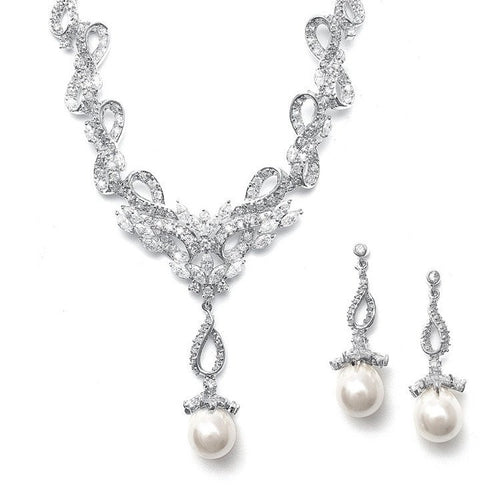 Vintage Cubic Zirconia Pave and Pearl Ribbon Necklace and Earring Set with Pearl Pendant by the ring madam mar3033S-