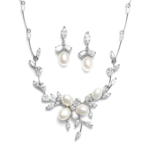 Freshwater Pearl and Cubic Zirconia Floral Leaf Necklace and Earring Set by the ring madam mar3041S