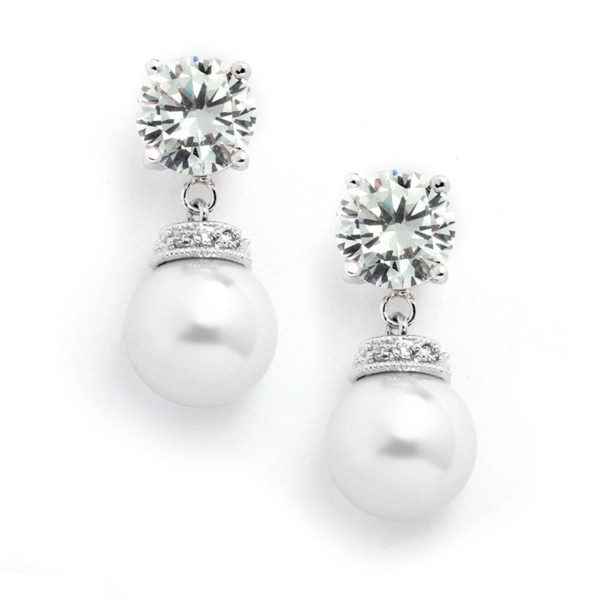 Pearl and Cubic Zirconia Drop Wedding Earrings