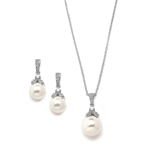 Pearl Drop Necklace and Earring Set with Vintage CZ in Three Finishes by the ring madam mar3045S-S-2