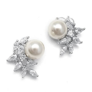 Clip-On Pearl and Cubic Zirconia Earrings in Crescent Shape