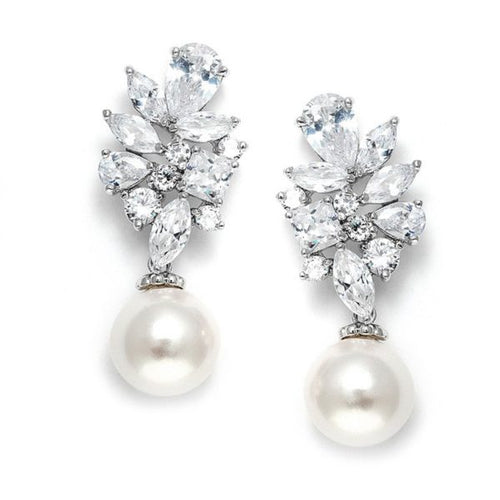 Cubic Zirconia Cluster Pearl Drop Earrings