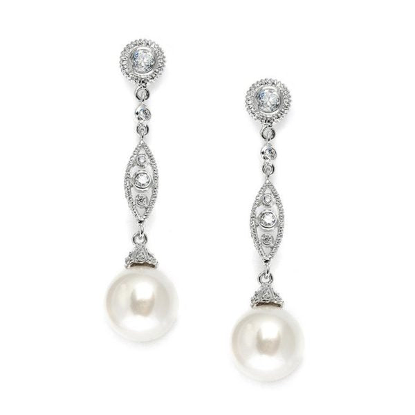 Dangle Earrings with Cubic Zirconia Filigree and Bold Pearl