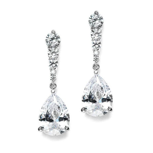 Cubic Zirconia Dangle Earrings with Graduated Top and Teardrop