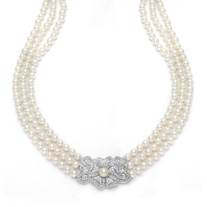 Vintage Pearl and Cubic Zirconia 3-Row Pearl Necklace (Only) by the ring madam mar3826N-