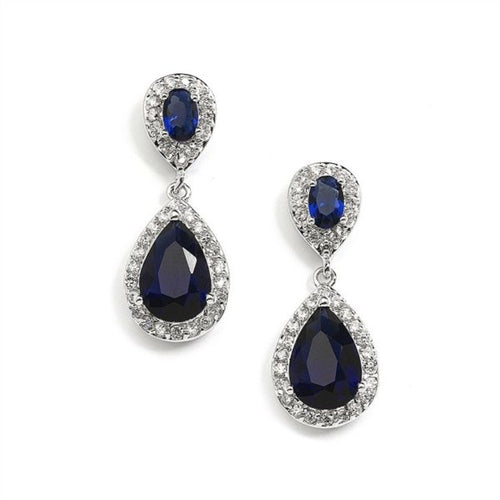 Sapphire Cubic Zirconia Teardrop Wedding or Bridesmaids Earrings By the Ring Madam
