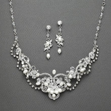 Load image into Gallery viewer, Vintage Freshwater Pearl & Crystal Necklace and Earrings Set by the ring madam mar4061