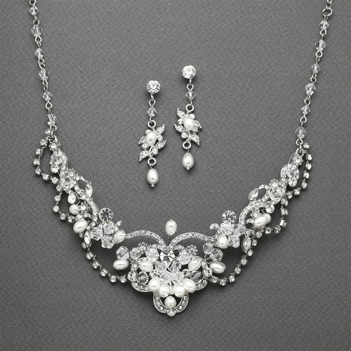 Vintage Freshwater Pearl & Crystal Necklace and Earrings Set by the ring madam mar4061