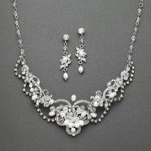 Load image into Gallery viewer, Vintage Freshwater Pearl & Crystal Necklace and Earrings Set