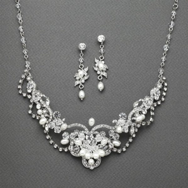 Vintage Freshwater Pearl & Crystal Necklace and Earrings Set