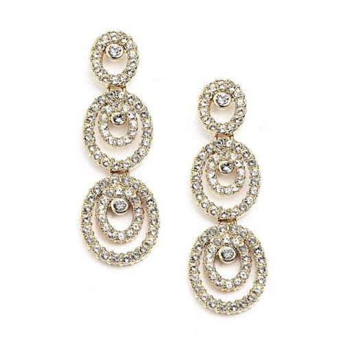 Gold Cubic Zirconia Triple Drop Oval  Earrings  By the Ring Madam