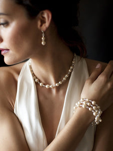 Back Necklace with Ivory Pearl and Crystal Long for Bridal, Bridesmaids & Prom by the ring madam mar4080N-I-CR-S