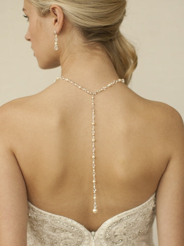 Back Necklace Gold with Crystal and Pearls for Weddings & Proms by the ring madam mar4082N-I-AB-G-3