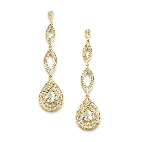 Gold or Silver Plated Micro pave Cubic Zirconia Teardrop Earrings