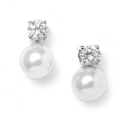 Pearl and Cubic Zirconia Solitaire Stud Earrings