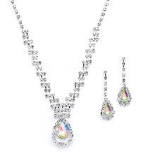 Load image into Gallery viewer, Rhinestone Necklace and Earring Set with AB Pear Drop Pendant