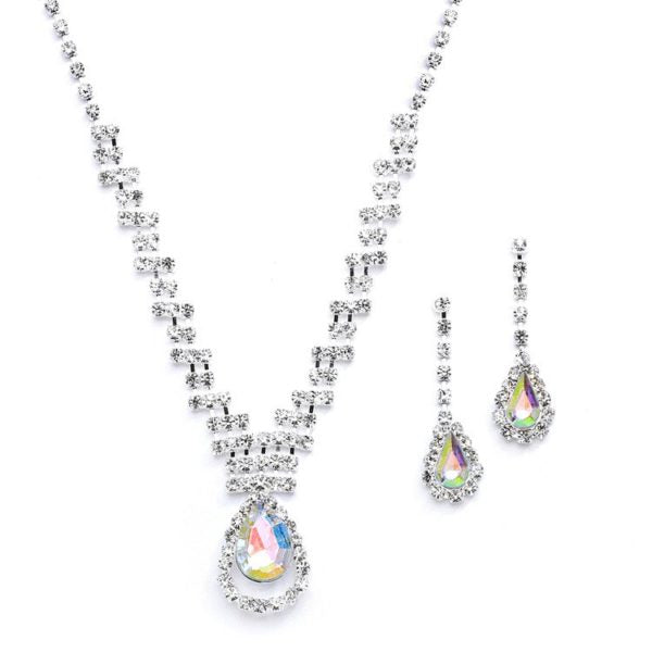 Rhinestone Necklace and Earring Set with AB Pear Drop Pendant