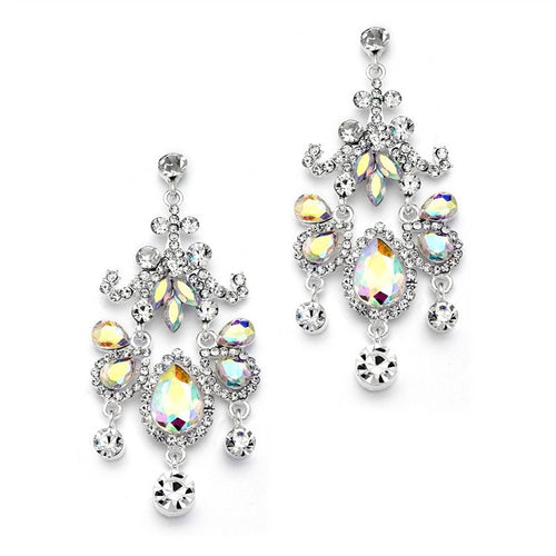 Crystal Chandelier Statement Earrings with AB Stones by the ring madam mar4149E-AB