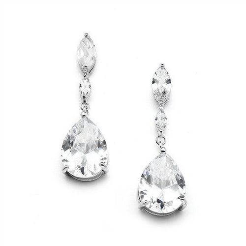 Cubic Zirconia Wedding Earrings with Dainty Marquise & Pear Drop By the Ring Madam