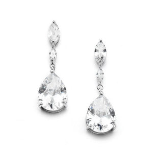 Cubic Zirconia Wedding Earrings with Dainty Marquise & Pear Drop