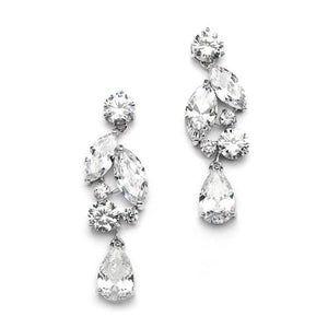 Cubic Zirconia Mosaic Cluster Earrings with Teardrop