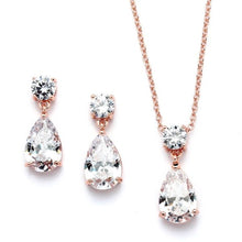 Load image into Gallery viewer, Rose Gold Cubic Zirconia Teardrop Necklace Set by the ring madam mar4172S-RG-